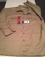 NWT Men's Dickies Long Sleeve Khaki Work Shirt Size 3XL