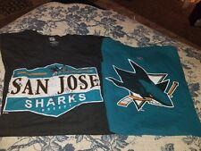 LOT 2 NHL SAN JOSE  SHARKS REEBOOK TEE SHIRTS SMALL TEAL COUTURE BLACK EUC