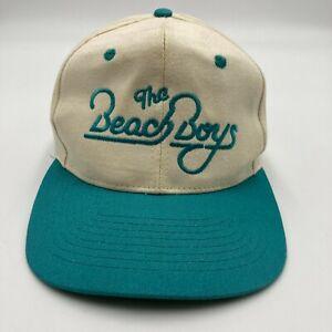 Vintage The Beach Boys Hat Cap Beige Blue Snap Back Music Band