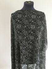 LOGO ricamato nero/bianco e argento tessuto pizzo floreale sartoriale