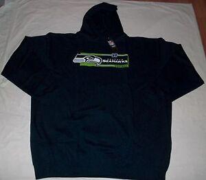 Seattle Seahawks Hoodie Navy Plus Sizes Hooded Sweatshirt Cool Neon Logo NFL New