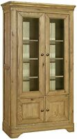 Linden solid oak living room furniture glazed display cabinet cupboard