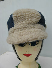 Cool Vintage Funky 1970's Super Cool Denim & Fake Fur Mens Womens Hat Cap - Sm