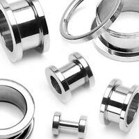 "Pair 316L Surgical Steel Screw Fit Ear Plugs Tunnels Earrings Gauges 16G-3/4"""