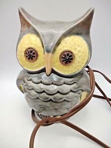 46  Vintage Ceramic Eyes Light Up Owl Nightlight. 6 1/4 Inches Tall