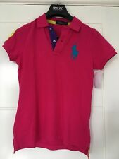 Ralph Lauren Women Polo Shirt S With Big Pony in Pink blue yellow purple UK 8/10