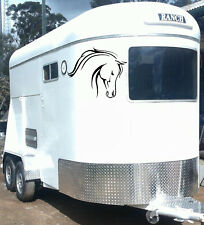 HORSE FLOAT DECAL SET OF TWO 270mm LARGE HORSE HEAD, Sticker, CARAVAN, TRUCK. d