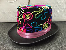 Rainbow Black Top Hat Mad Hatter Party Costume Magician Wedding Fedora Halloween