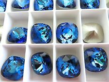 4 Bermuda Blue Foiled Swarovski Crystal Square Cushion Cut  Stone 4470 12mm