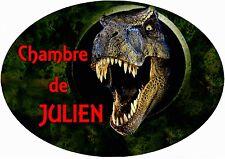 plaque de porte chambre dinosaure personnalisée inscription au choix réf 242