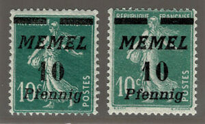 MEMEL 54b ** gute Farbe + 54a ** = Yvert 47 verde fonce = Scott #52 bluish green