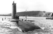 ROYAL NAVY NUCLEAR SUBMARINE HMS CONQUEROR ARRIVES HOME FROM THE FALKLANDS