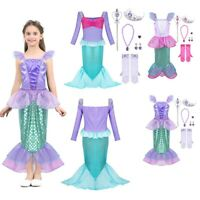 Girls Mermaid Fancy Dress Up Princess Costume Children Outfits Cosplay Book Week