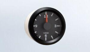"""VDO gauge clock, genuine Cockpit 370-155, 2-1/16""""/52mm, 12/24V dual system"""