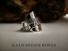 CHUNKY US STERLING SILVER SPOON RING C1849 WITH PIERCED FLORAL DETAIL LAST ONE!!