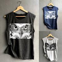 Women Summer Sleeveless Owl Printed Tank Shirt Casual Loose Tops Blouse Pullover