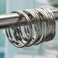 12pcs Stainless Steel Anti-Rust Hooks Rings Glide Shower Curtain Bathroom-Tool