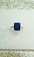 SIMULATED BLUE DIAMOND STERLING SILVER RING SIZE ( 6) TGW 4.46 CTS