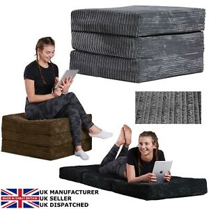 GILDA ® JUMBO CORD Adult Pouffe Fold Out Futon Single Guest Chair Mattress Bed