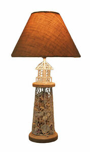 White and Grey Metal Mesh Seashell Filled Lighthouse Table Lamp with Cone Shade