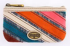 NWT FOSSIL EXPLORER PATCHWORK ZIP DOUBLE COIN PURSE MINI WALLET WITH CARD SLOTS