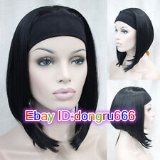Ladies Cute Short BOB 3/4 wig with headband straight Black half wigs + wig cap