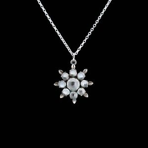 Antique Moonstone Star Sterling Silver Pendant and Chain Necklace Victorian