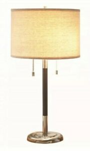 """Traditional Table Lamp Fabric Shade 26"""" Brushed Nickel Finish Living Bedside"""
