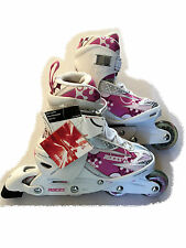 Roces Girls/Kids Inline Roller Skates Adjustable Pink/White US 4-7 PLUS Guards