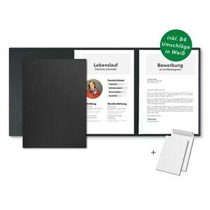 5 Bewerbungsmappen Schwarz 3-teilig feinste Lederstruktur / Set inkl 5 Umschläge