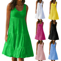 Plus Size Casual Women Summer Beach Solid Color Sleeveless Loose Midi Dress NEW