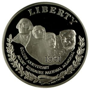 1991 MT RUSHMORE GEM BU SILVER DOLLAR With Airtite Capsule As Issued