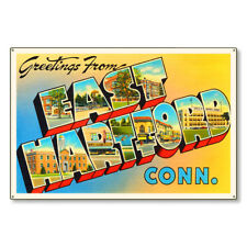 East Hartford Connecticut Ct Large Letter Postcard Metal Sign Decor Steel 36x24