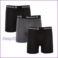 REEBOK MEN UNDERWEAR 3 PACK BOXER BRIEF STRETCH PERFORMANCE TRAINING BLACK -GREY