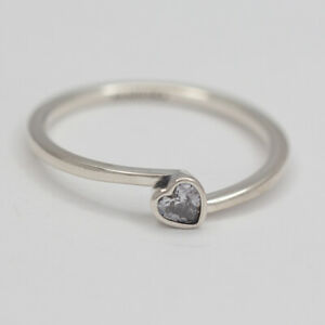 New Pandora Ring Tilted Heart Solitaire Multiple SZ 199267C02 W Suede Pouch
