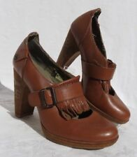 LONDON UNDERGROUND Brown Mary Jane Tassel Chaos Heels Shoes size 9