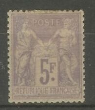 "FRANCE STAMP TIMBRE N° 95 "" SAGE 5F VIOLET SUR LILAS 1877 "" NEUF x TB"