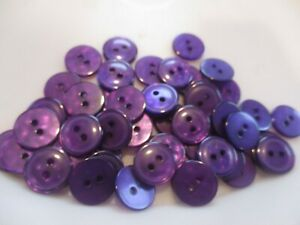 LOT OF 50 PURPLE COLOR 9/16 INCH 2 HOLE BUTTONS, NEW