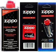 4 Ounce Fuel Fluid & Pack Flint (6Flints) & 1 Wick for Zippo Lighters