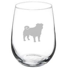Stemless Wine Glass Goblet 17oz Pug Dog
