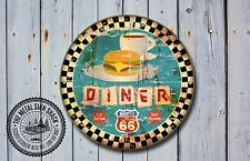 Route 66 restaurante Letrero De Metal, coches, American, gas, Clásico, decoración de garaje, 969