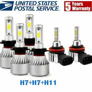 4-Sided 2400W H7+H7+H11 Combo LED Headlight Bulbs High Low Beam &Fog 6500K White
