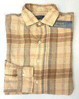 NWT $98 Polo Ralph Lauren Tan Brown Plaid Shirt Mens Linen Long Sleeve NEW