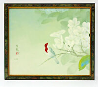 Asian Bird Floral Scene 20 x 24 Art Oil Painting on Canvas w/Custom Frame