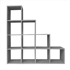 Treppenregal Raumteiler Bücherregal Standregal Stufenregal 10 Fächer Betongrau
