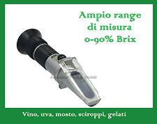 Rifrattometro Uva Vino Sciroppi Gelati 0-90%Brix ATC, Refractometer 0-90%Brix