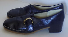 NOS Vintage 70s Navy Blue Wet Look Shoes Size 9 - 10 Man Made Rubber Sole