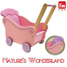 Dollie PRAM Pink & Lilac Wooden Dolls Pram - I'm Toy Eco sustainable rubber wood