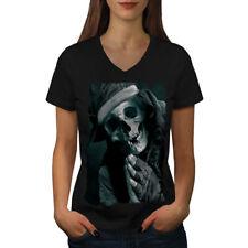 Wellcoda Pray Skeleton Womens V-Neck T-shirt, Underground Graphic Design Tee