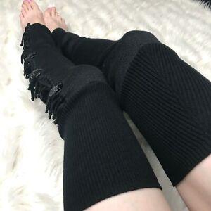 Black Wool Fringe Leg Warmers Sweater Knee Socks Thigh Highs Button Legwarmers